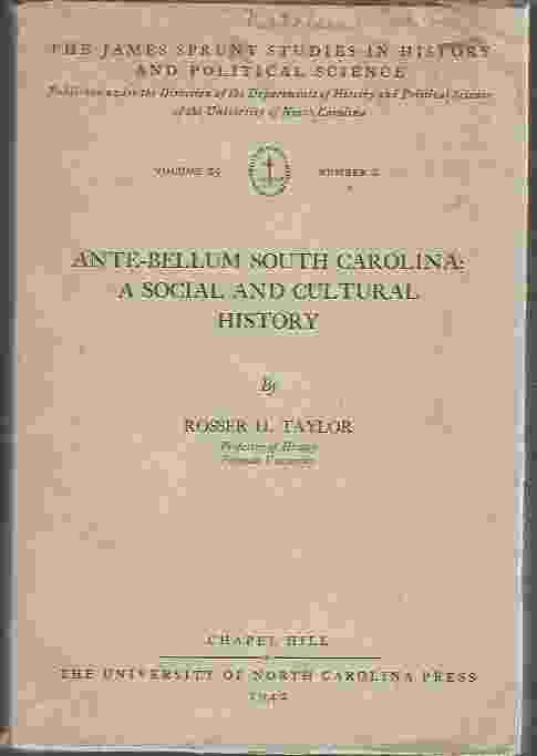 Image for ANTE-BELLUM SOUTH CAROLINA  A Social and Cultural History