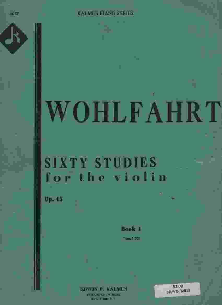 Image for FRANZ WOHLFAHRT, 60 STUDIES FOR THE VIOLIN, OP.45, BOOK 1