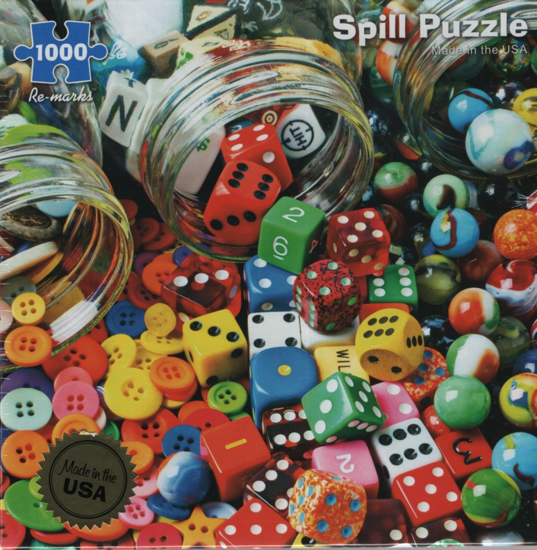 Image for SPILL, 1000 PIECE PUZZLE Marbles, Dice & Buttons