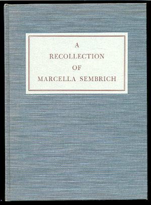 Image for A RECOLLECTION OF MARCELLA SEMBRICH